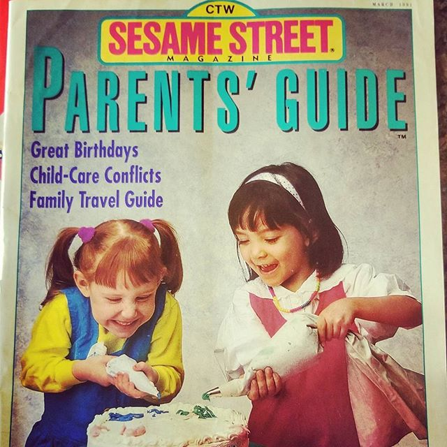 #sesamestreet #magazinecover #humblebrag #pigtails #tbt #ilovethe90s #modeling #1990 #goingplaces #frosting #cake #hairband #babyface #minime found this in the attic, been frosting cakes since Sesame Street 😉
