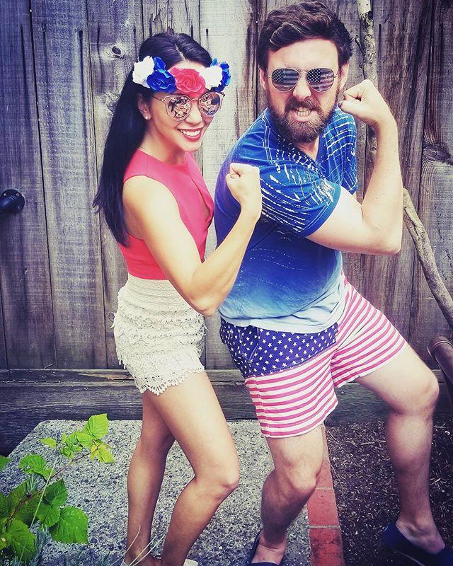 Welcome to the gun show! . . #America #gunshow #4thofjuly #patriotic #festive #redwhiteandblue #sanfrancisco #sf #summer2017 #happybirthdayamerica #merica #california #sunsoutgunsout #americanflags #flowercrowns