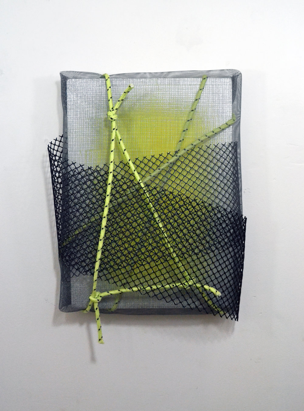 Tempered , spray paint, plastic netting, and paracord on canvas, 12 x 15 x 4 inches