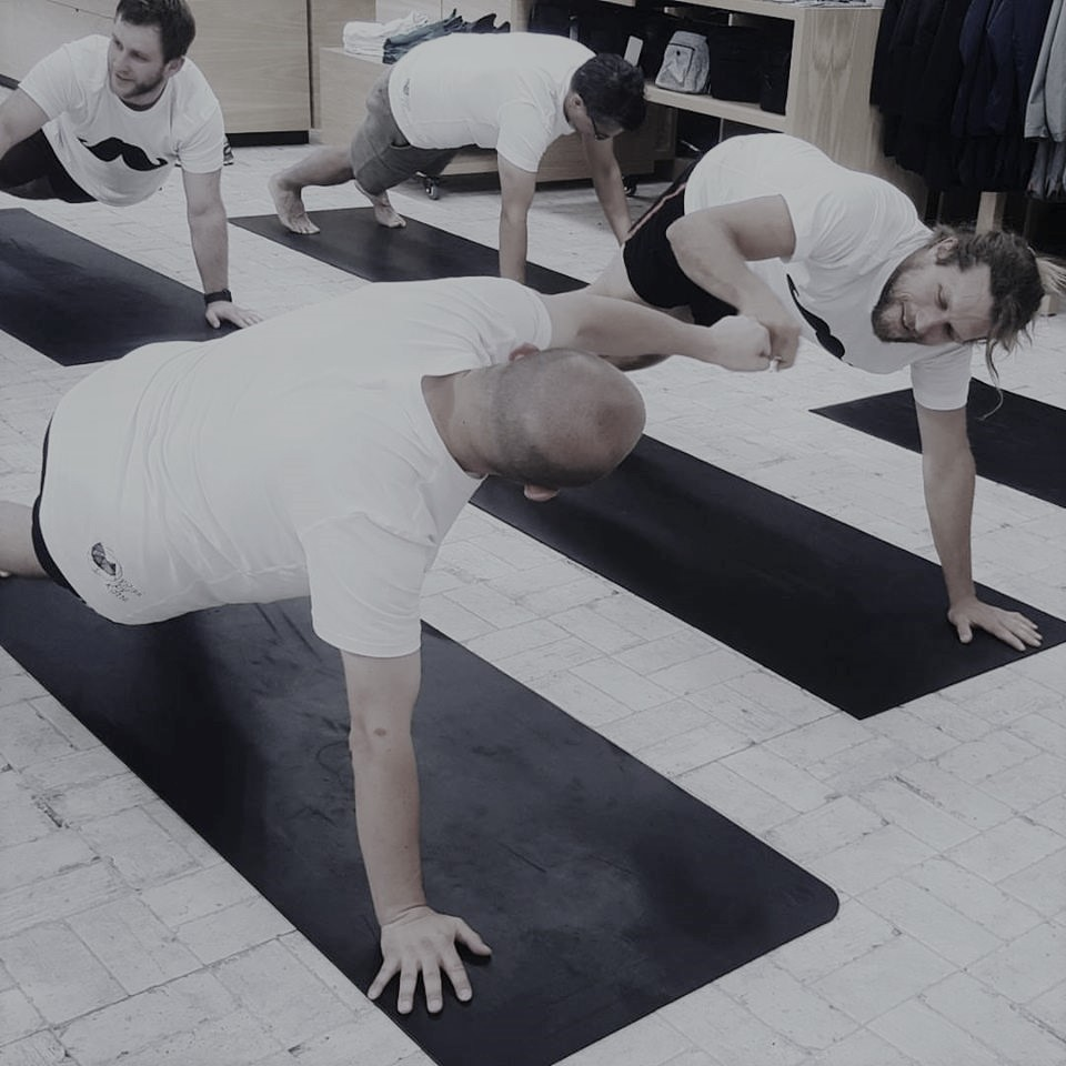 BROGA  Often run during November month in support of MOVEMBER. A program designed for males. Broga is about having a safe environment to feel inflexible, and to improve mind and body awareness.