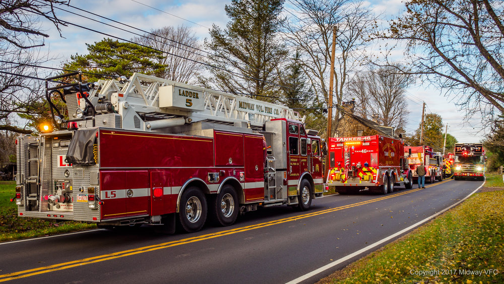 2017.11.14 AT 2:46 PM Midway Volunteer Fire Company provided mutual aid to Eagle Volunteer Fire Company in responding to a chimney fire on Upper York Road in New Hope, PA. There were no reported injuries at the scene. Cause and damage estimates are being determined.