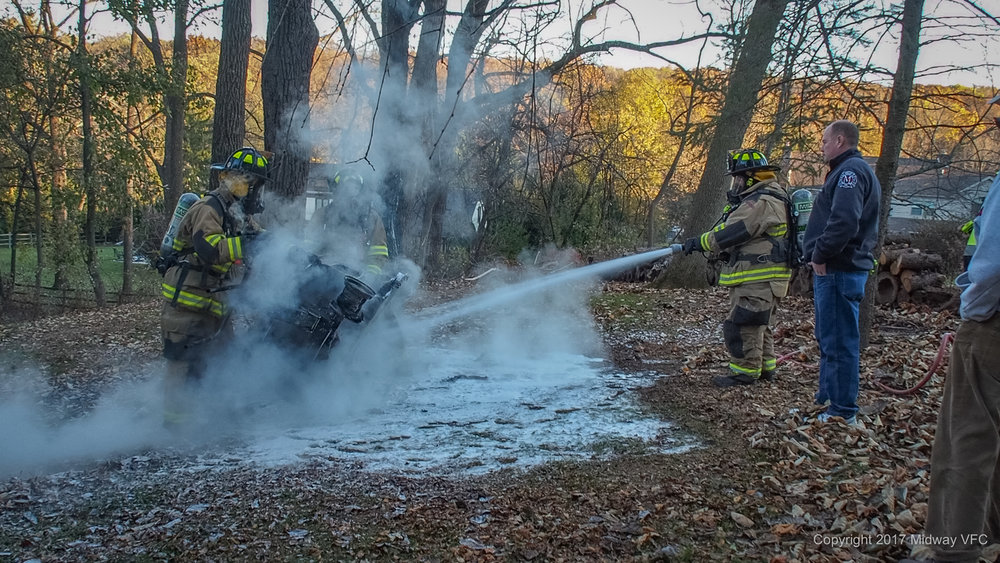 2017.11.24 at 3:34 PM Midway Volunteer Fire Company responded to a lawn mower and leaf fire on Hunters Place in Buckingham Township. There was minor damage to a tree and major damage to the lawn tractor. Neither the homeowner or the first responders were injured at the scene.  All homeowners are reminded to be attentive to the risk of fire when mowing, vacuuming or mulching dry leaves. Should the leaves ignite immediately remove yourself from the area and call 911.