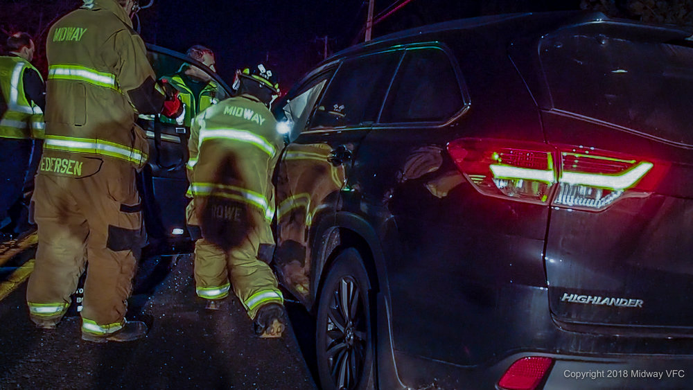 2018.02.28 at 10:00 PM Midway Volunteer Fire Company responded to an Auto Extrication on RT. 202 near Street  Road in Solebury Township. After extrication all victims were treated at the scene.
