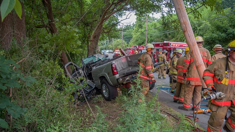 2018.07.15 at 6:23AM Midway Rescue 5, Engine 15 and Engine 5 along with mutual aid from Lingohocken's Rescue 35 responded to an auto extraction in the 2000 Block of Durham Road, Buckingham Township. Both occupants were transported upon extraction.