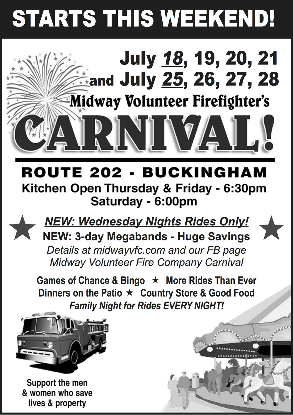 It is that time of year again. What is better than a warm summer night spent at the Carnival? A local tradition for over 85 years. We look forward to seeing you there!