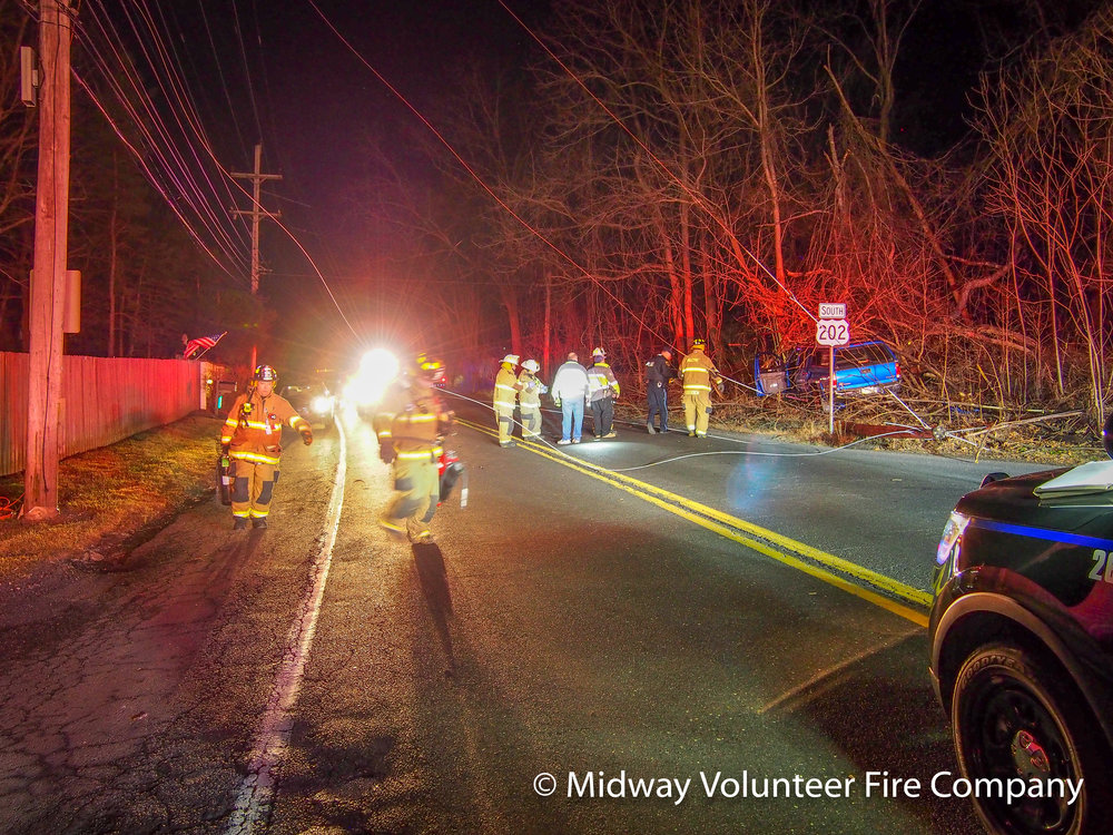 2019-02-16, 26:57 - Midway Volunteer Fire Company's Rescue 5, Engine 15-1 and Engine 5 along with Central Bucks Ambulance Squad responded to automobile entrapment with downed wires. Within 60 seconds of arriving, the vehicle door was breeched and EMS was able to attend to the patient. The accident is under investigation by Buckingham Police.