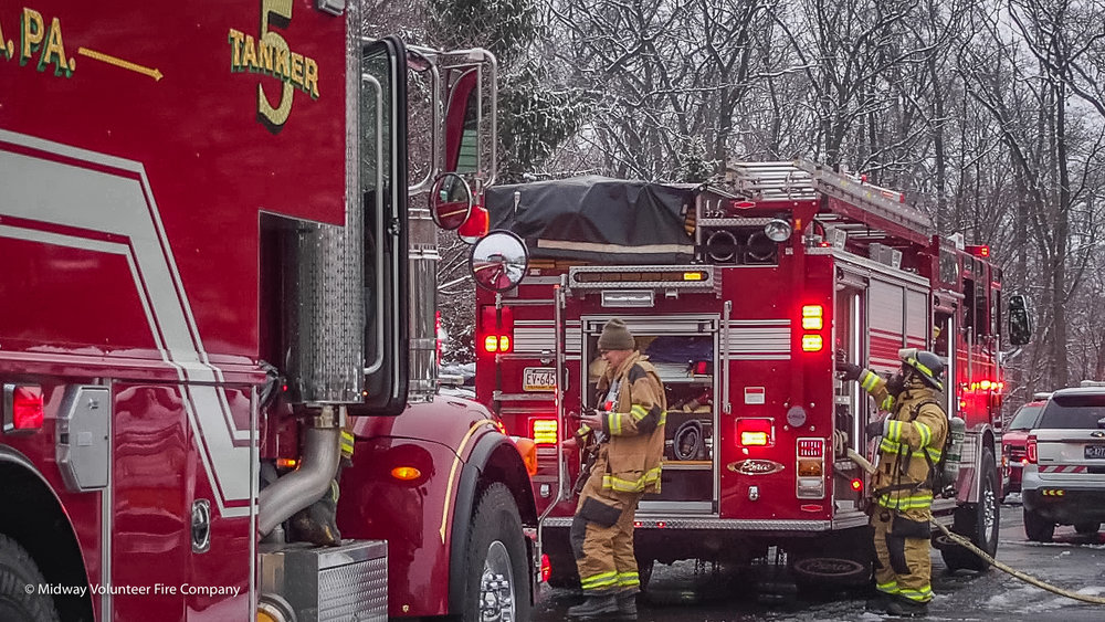 2019-02-21- Midway Volunteer Fire Company's Ladder 5, Engine 15 and Engine 5 along with Doylestown and Central Bucks Ambulance Squad responded to a dwelling fire on Sands Way in Buckingham Township. There were no reported injuries to occupants or first responders.
