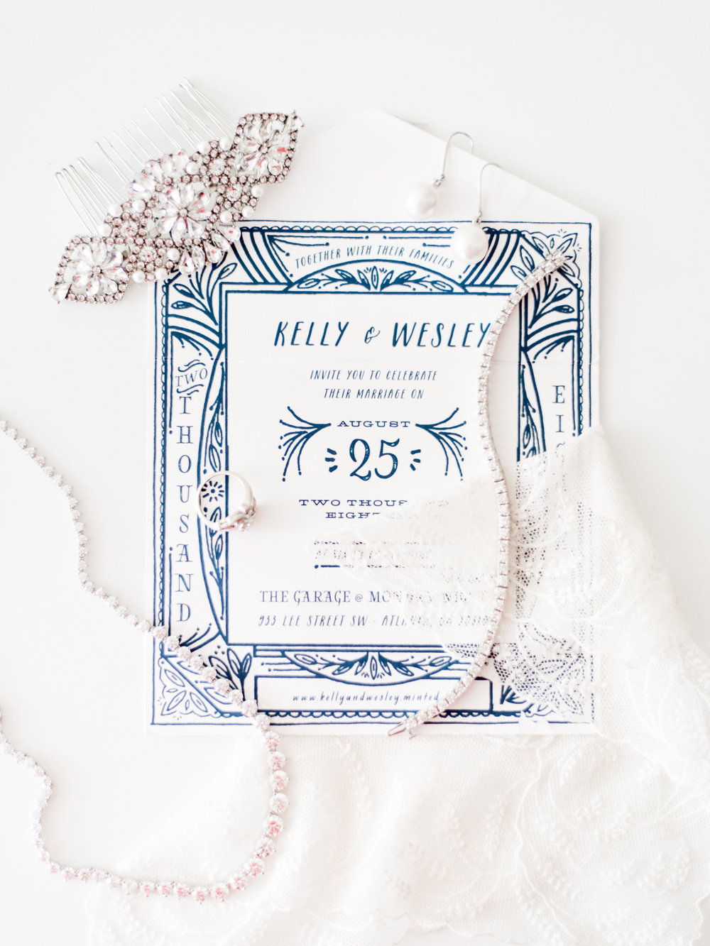 wedding invitation flatlay