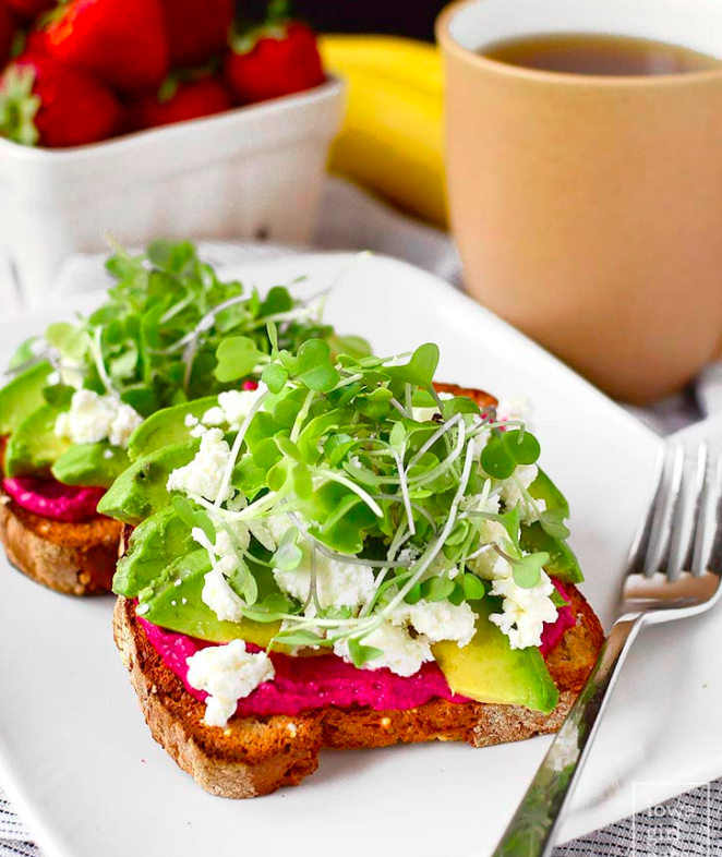 Avocado Toast with Beet Hummus and microgreens. Click on image for link to recipe.