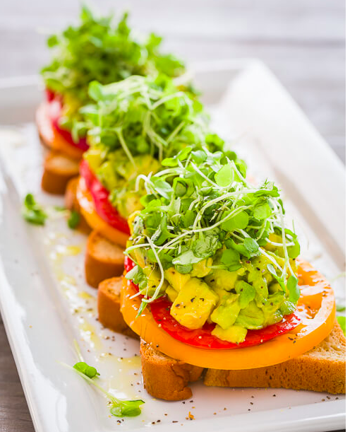 Tomato Avocado Toast with Microgreens