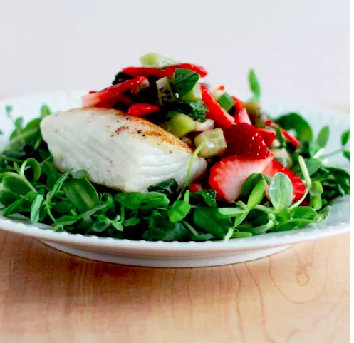 Seared Halibut with Microgreens