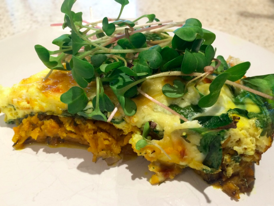 Sweet Potato Crusted Spinach Frittata with Microgreens