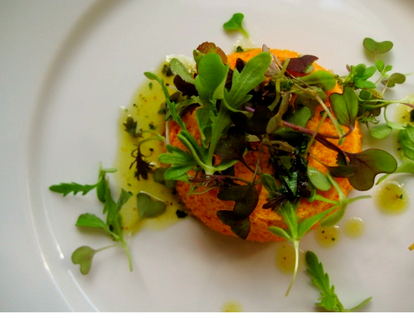 Carrot Flan with Microgreens