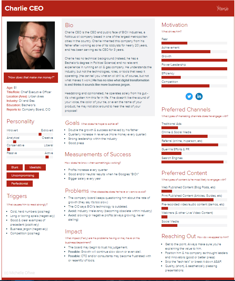 """An example of a """"listener persona"""" created for the podcast project"""