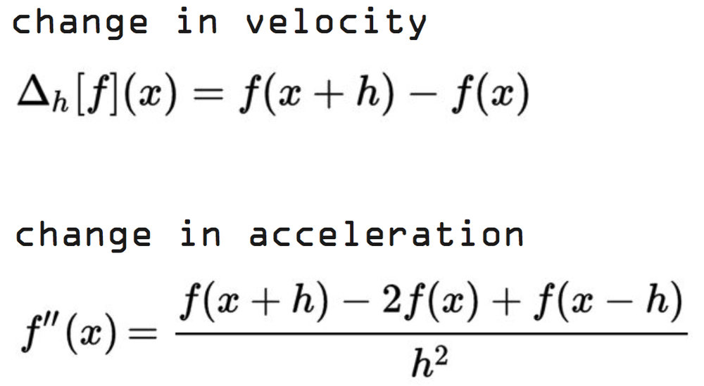 5. Derivatives  To be able to compare the motion of one video to another, we take the first derivative to calculate the change in velocity and the second derivative to calculate the change in acceleration.
