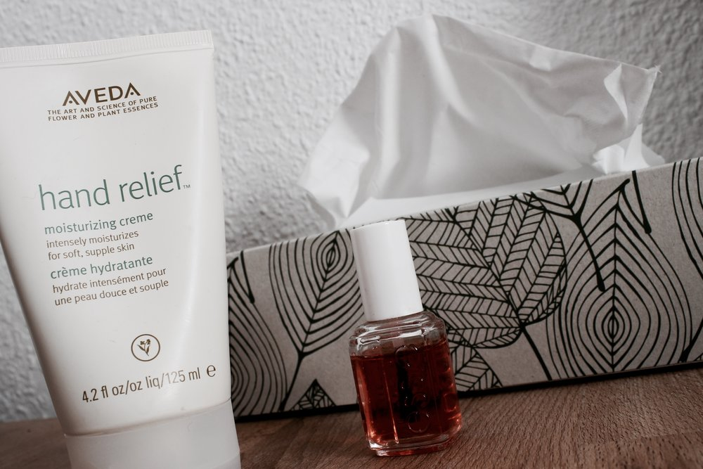 Aveda hand cream bedside table