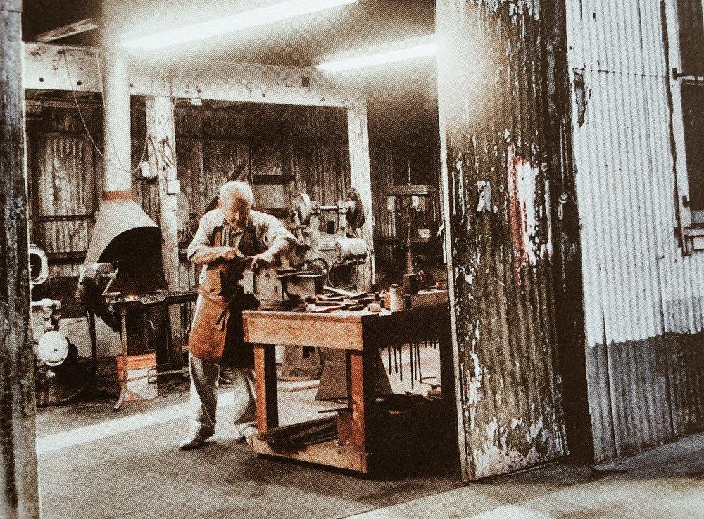 Yvon Chouinard forging away in his blacksmith shop. (Still today.)
