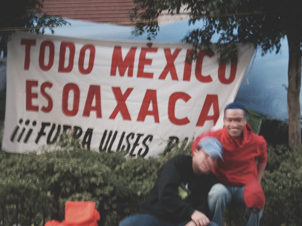 Blurry photo of protesters in Mexico, 2007. I spent weeks interviewing a people's movement in Oaxaca for uni. It was my form of getting to know Mexico.