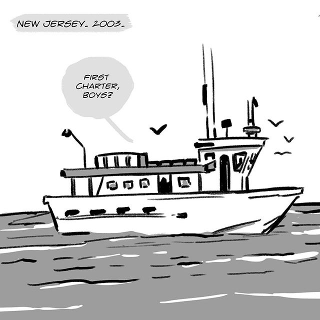 #theeverydaycomic / Fishing ✏️ Support the comic on Patreon. Link in bio.  #webcomic #art #illustration #comic #comicstrip #fishing #charter #newjersey #2003 #noob #bigfish #drawing #webtoon #fish #charterfishing #nj