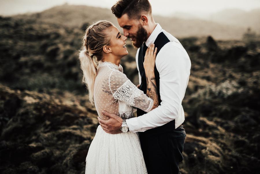 Wedding photographer in Iceland shooting styled elopement wedding