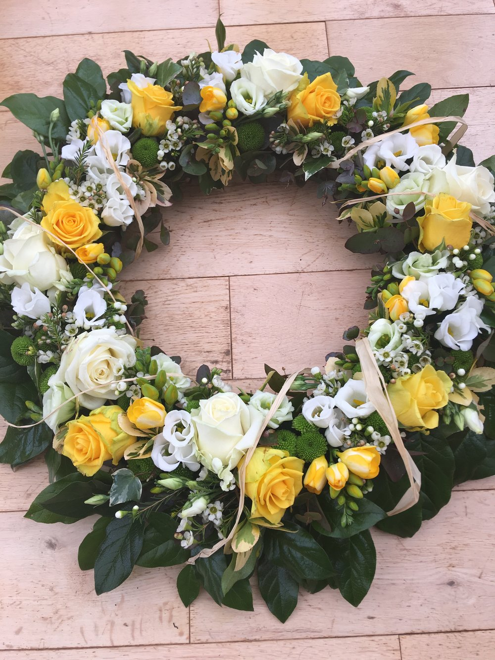 yellowandwhitefuneralwreath
