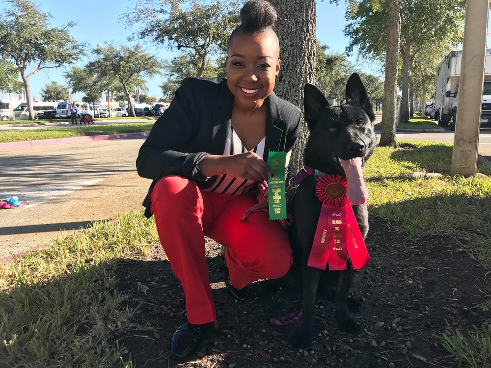 Onyx competed at the 2018 Royal Canin Dog Show in Orlando Florida and placed 2nd in her obedience class!  -