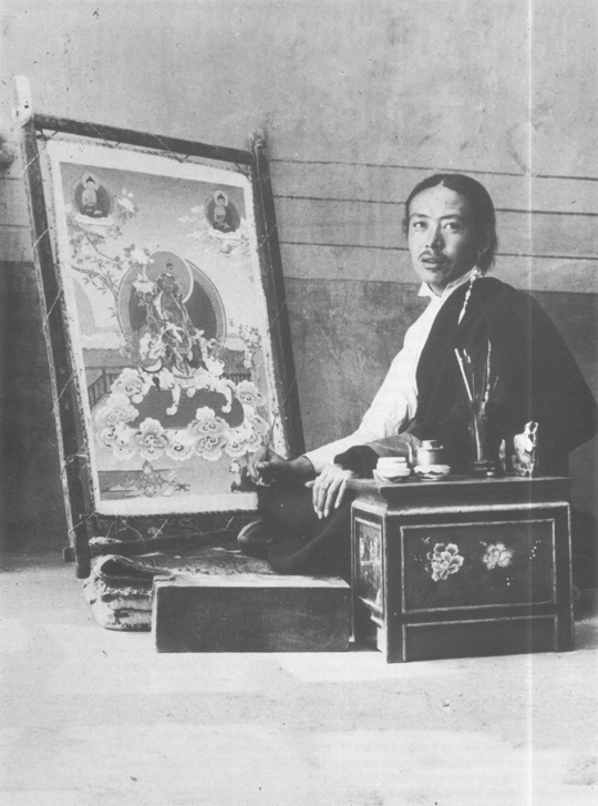 The painter Tsering and his canvas in the Norbu Lingka, Lhasa, Tibet 1937.
