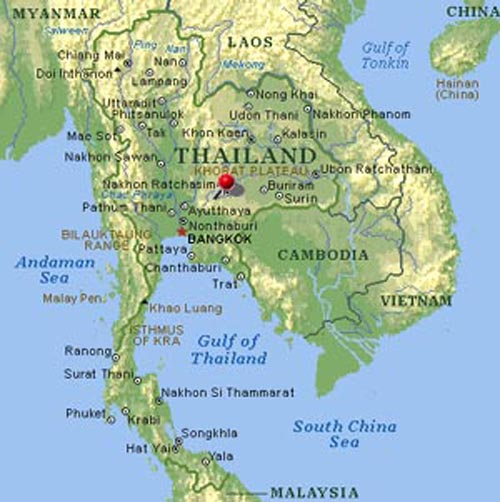 Map of Central Thailand showing the location of Ayutthaya  .