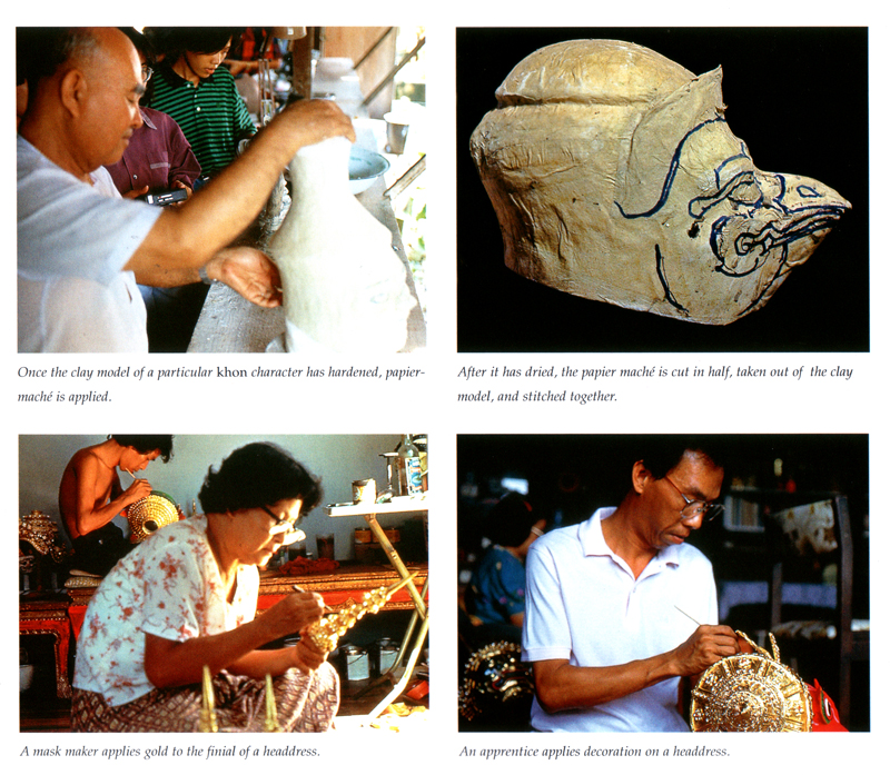 Various stages in the process of  Khon  mask making  , Ayutthaya, Thailand.    Chandavij, N. and Pramualratana, P. 1998.   Thai Puppets and Khon Masks  , River Books.