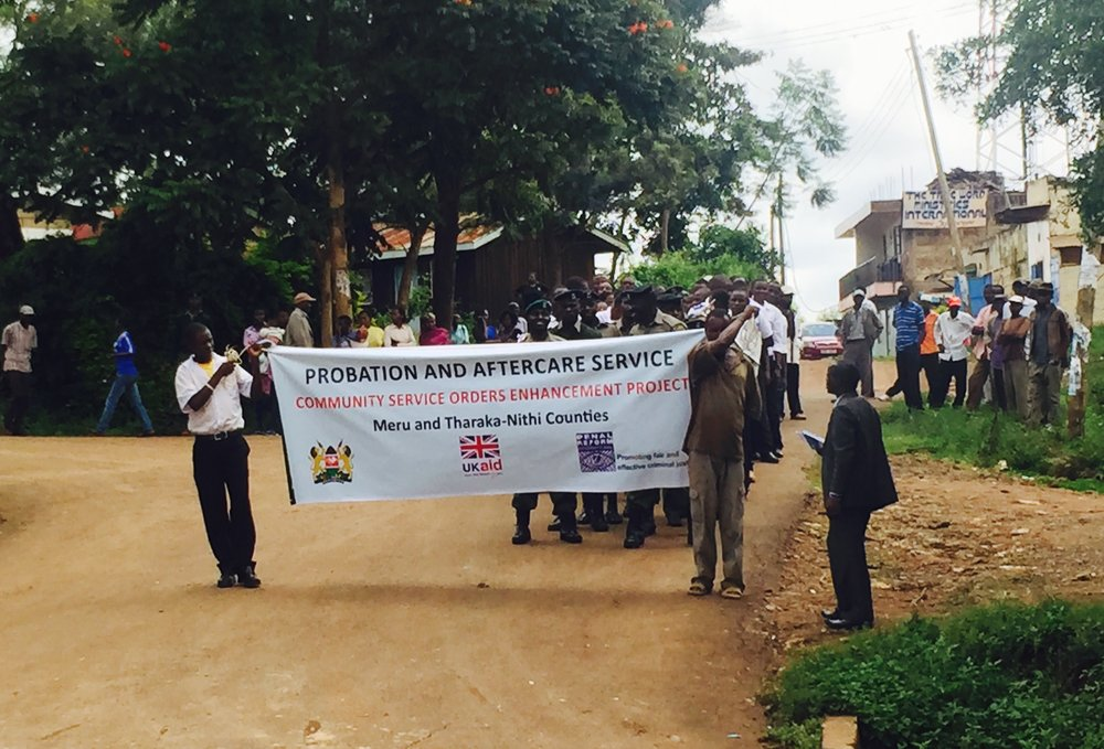 A 'Community Service Open Day' in Kenya. A procession through town to attract attention, followed by a band. This gave magistrates and probation staff a chance to engage with the public and highlight the importance of CSOs. CLICK IMAGE FOR MORE INFO...