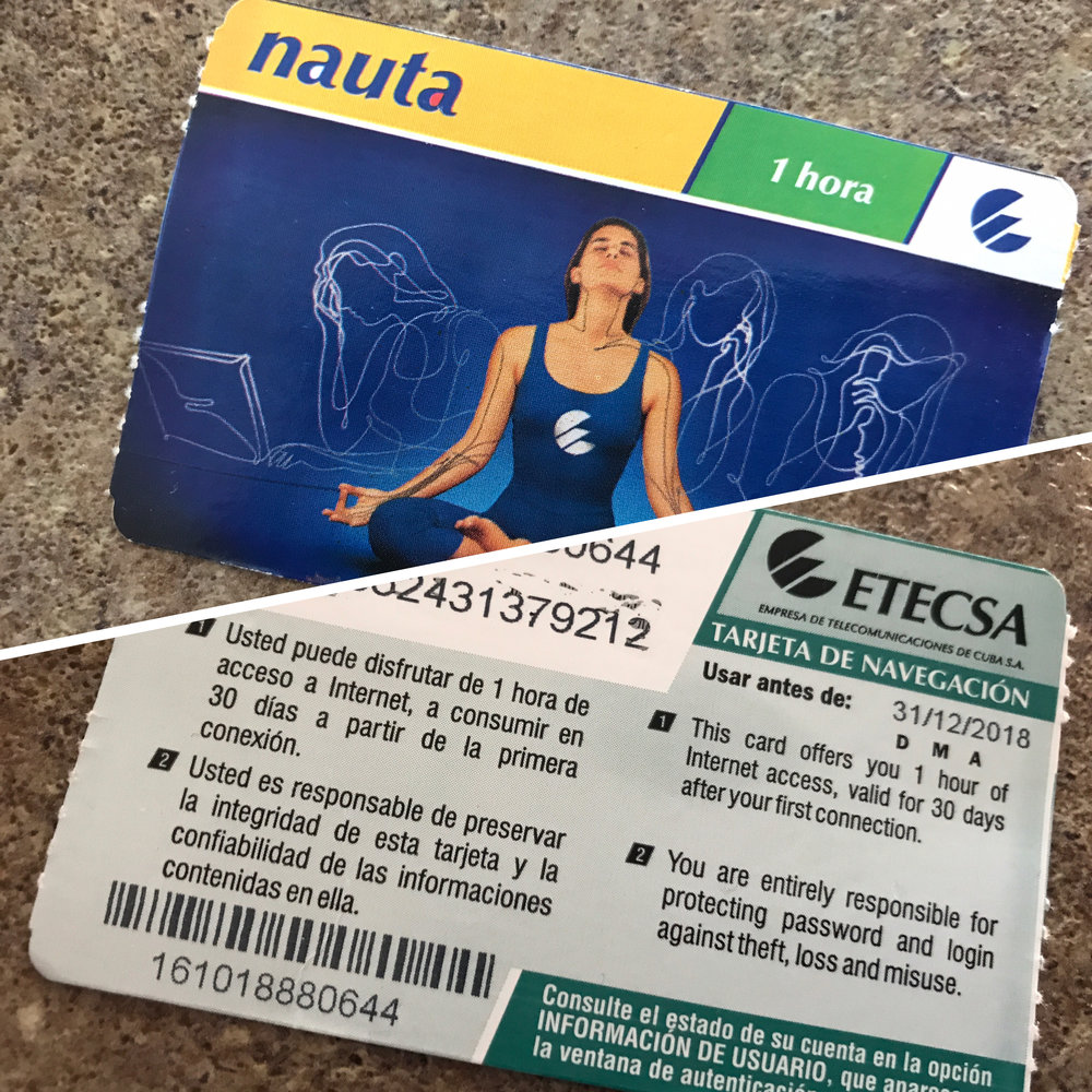 Etecsa scratch card used to access the internet.