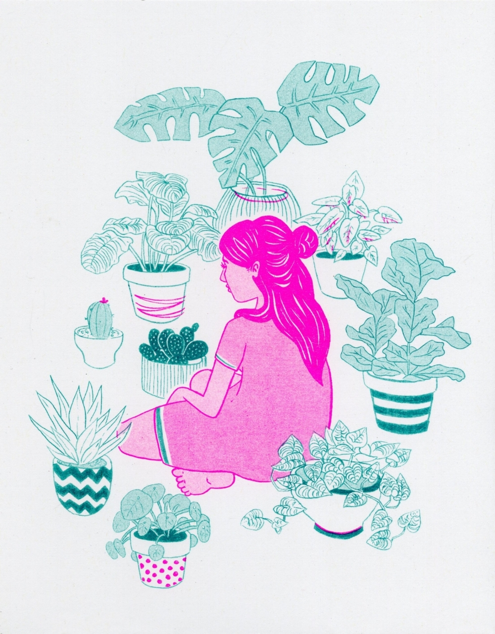 Plant Risograph - 2016  Drawn traditionally and printed with a risograph printer