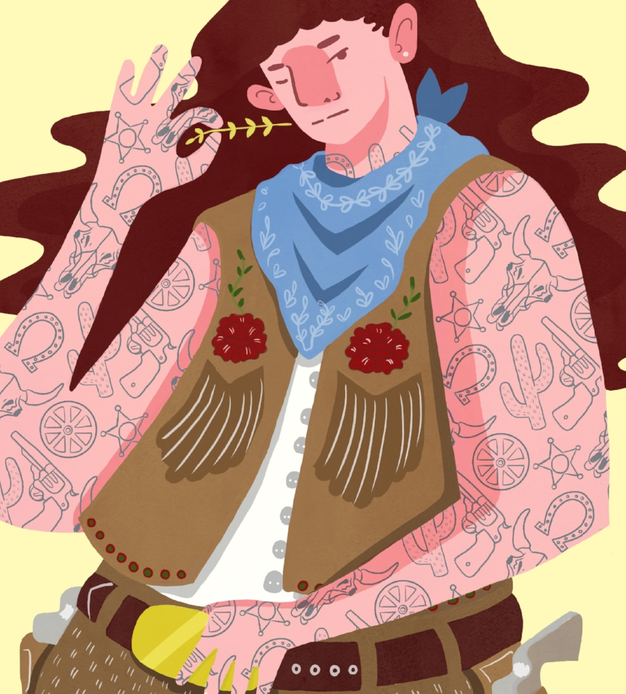 Tattoo Pattern Cowgirl - 2017 Cowgirl that holds as a vessel for my western pattern. Adobe Photoshop