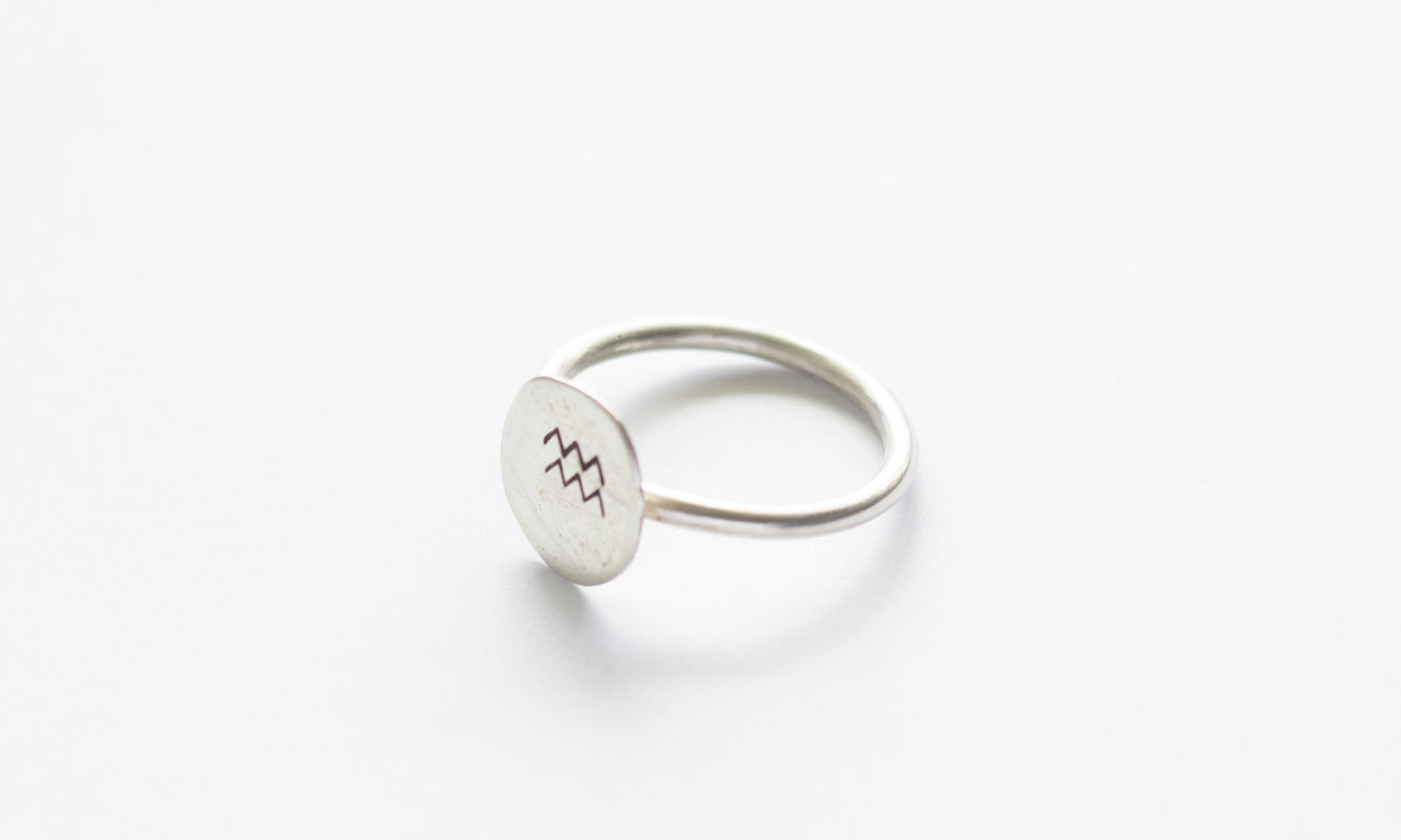 Small circle mountain stamp ring — Argent Silversmith