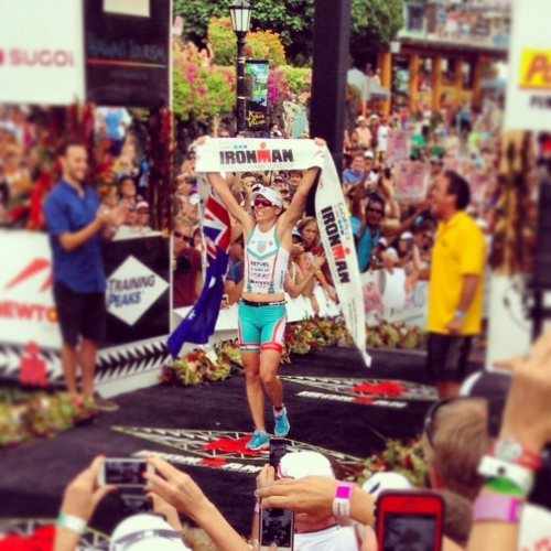Mirinda Carfrae at the finish line of the 2013 Ironman World Championship.