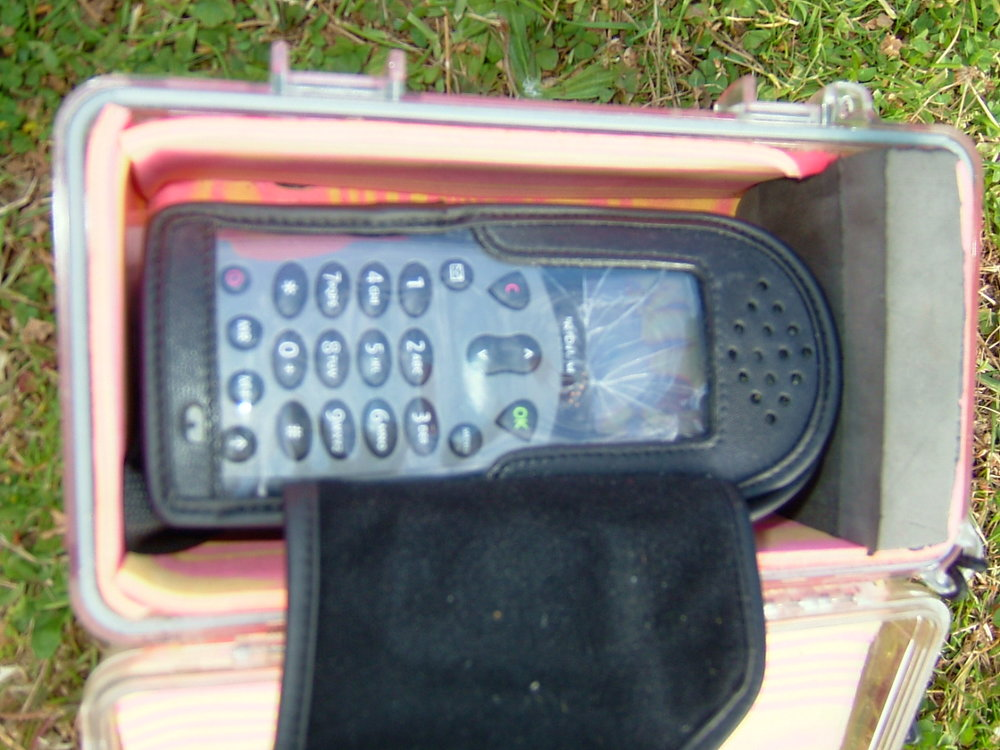 The sat phone, inside  padded dry box, it was in the back of my kayak and is testament to the impact it took when the sling fell to the ground.