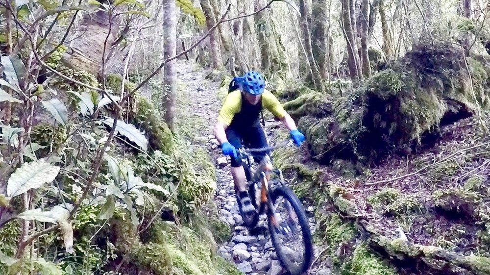 descending Croesus track through boulder gardens of baby head sized rocks.