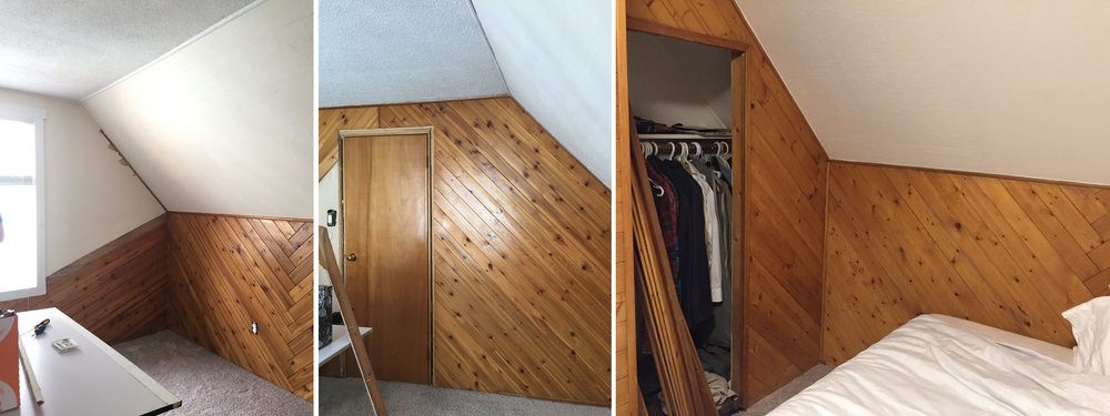 "The ""before"" photos of the nursery, above. That '70s-style wood paneling will NOT be missed by me!"