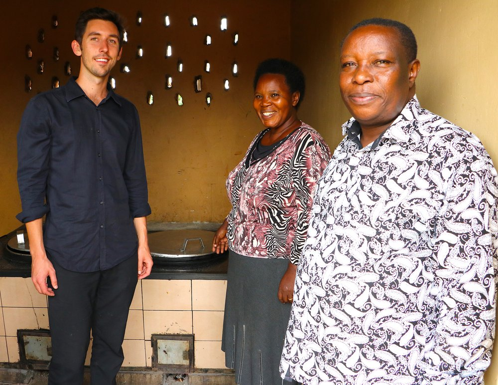 Stephen experiencing a smoke-free kitchen and learning how clean cookstoves have impacted a school in rural Uganda.