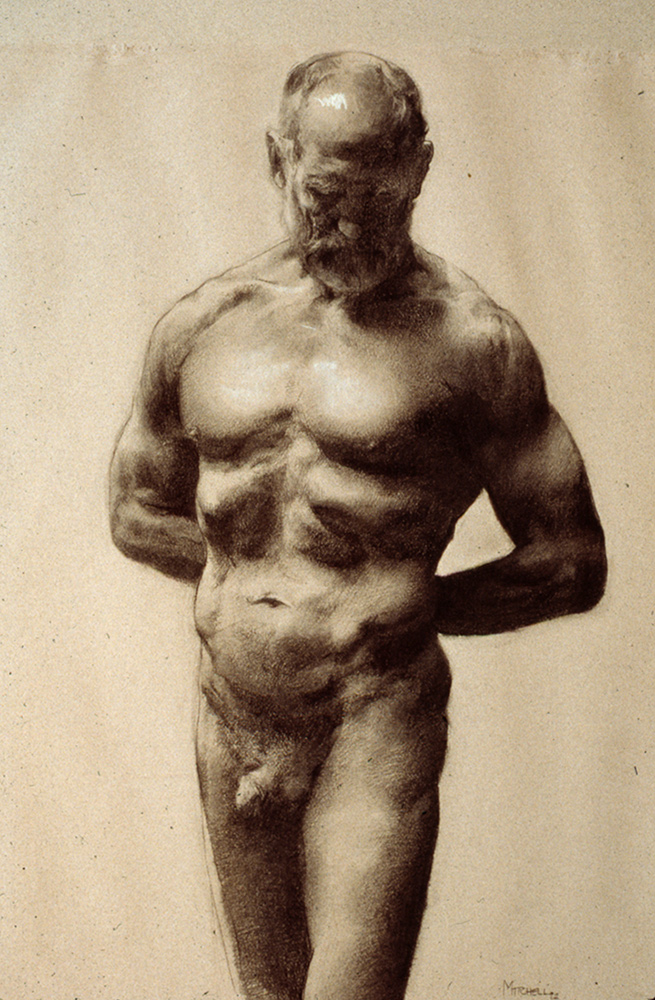 """Charcoal Male Nude"""