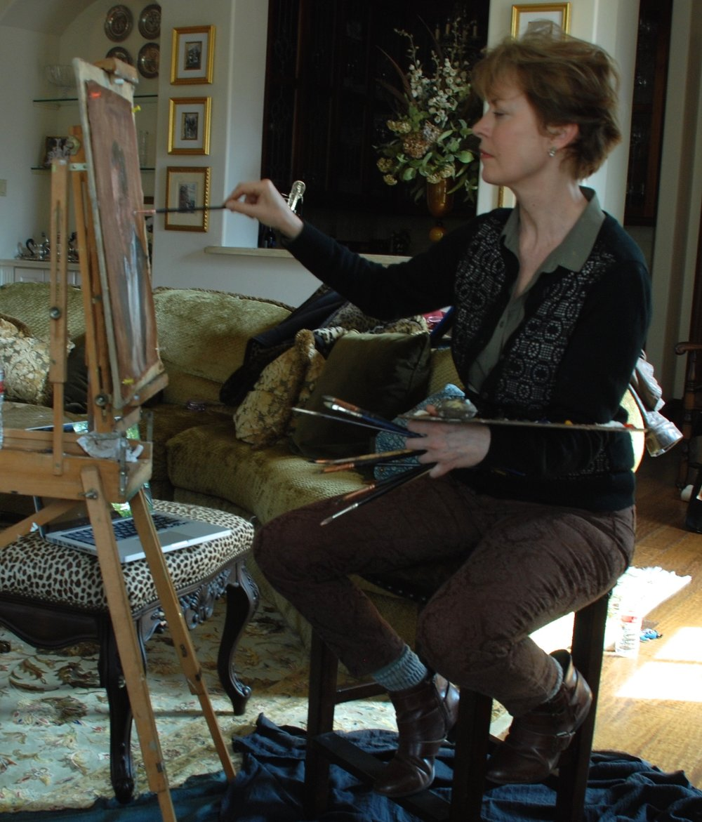 Michele painting at the O'Briens.JPG