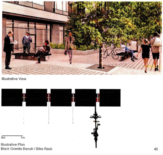 """A Bench / Bike Rack"" proposal for the Douglas and Pandora development. Image source: Submission to Victoria Council."