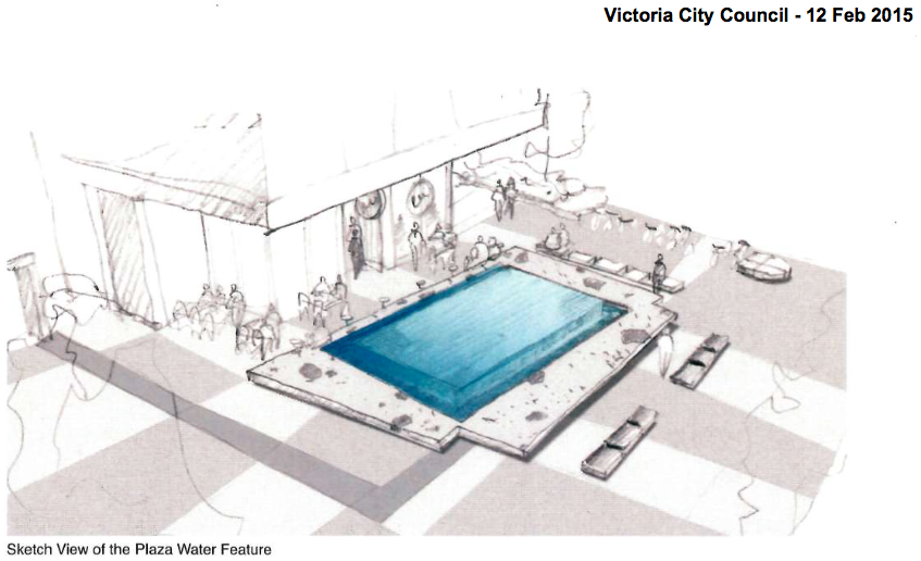 Gaps on a then-proposed bench design at 1515 Douglas. Image source: Submission to Victoria Council.
