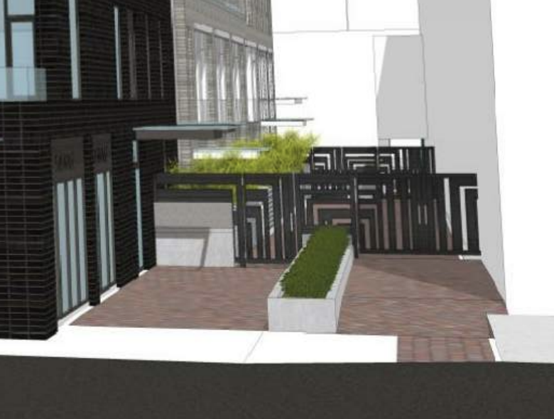 """""""Decorative metal gates,"""" six feet high, will block access (or at least overnight access) when the new 848 Yates development is complete. Image source:  City of Victoria  (large file size)."""