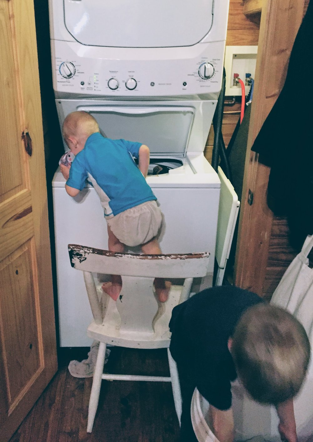With the laundry close by, the younger children can even help!