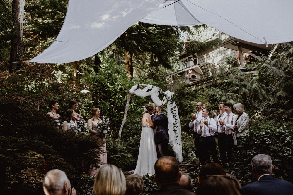 An intimate wedding photo at a backyard in West Vancouver