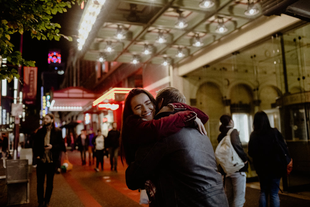 A intimate and romantic photo of an engagement session in downtown Vancouver.