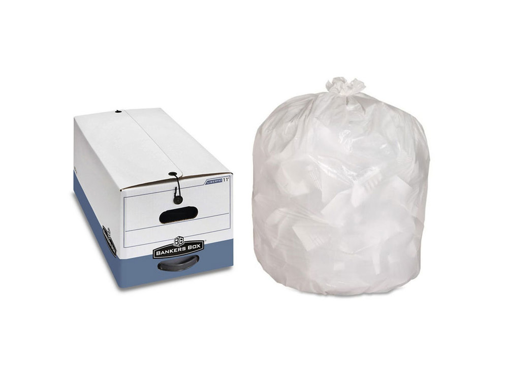 Boxes and Bags - We don't provide them, but we pick up banker boxes and 13-gallon trash bags!