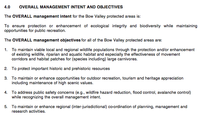 Subsection 4.0 of the Bow Valley Protected Areas Management Plan. Click to enlarge.