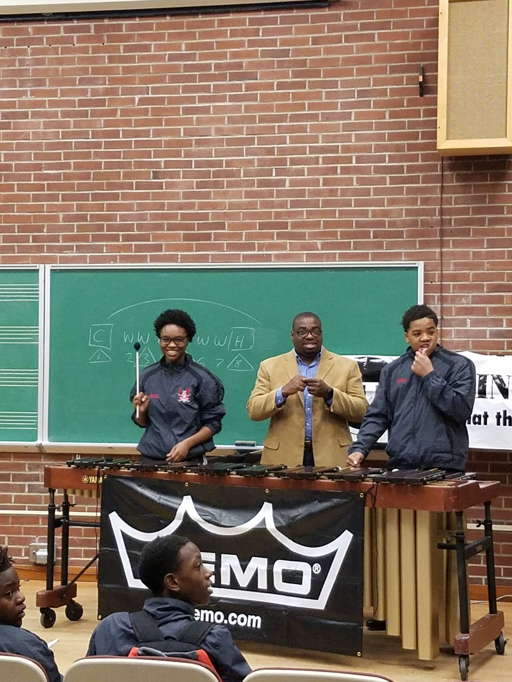 Dr. Daniel McCloud of Methodist University and participants at his mallet fundamentals clinic